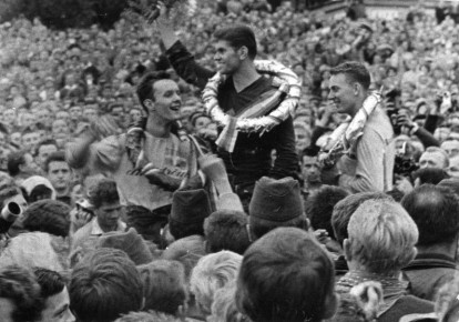 Holice GP in 1963.  Jan Johansson,  Valstimil Velek and Torsten Hallman