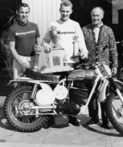 First victories in the USAin 1966.  Malcom Smith 250cc, Torsten Hallman 500cc here with Edison Dye